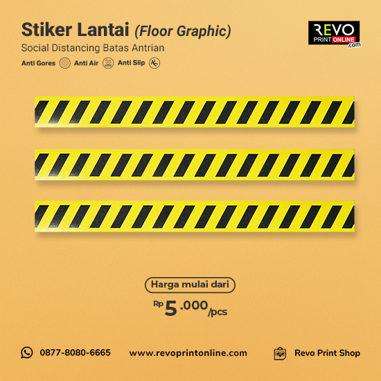 Stiker Lantai Social Distancing Batas Antrian (50x5cm)