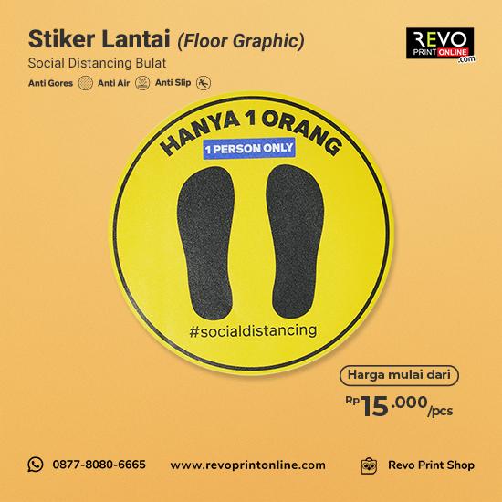 Stiker Lantai Social Distancing Bulat (25x25cm)
