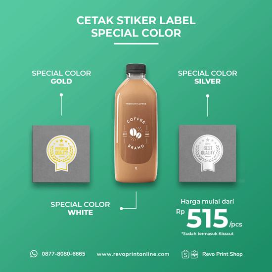 Cetak Stiker Label Special Color ( Tinta putih, gold, silver )